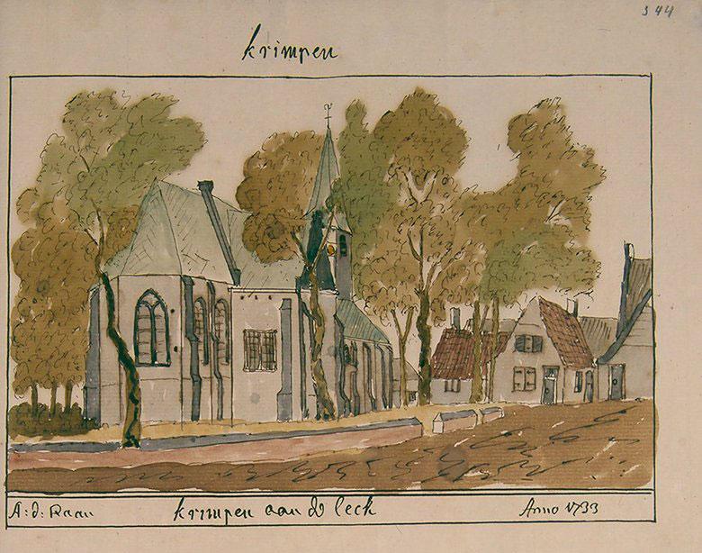 kerk getekend door A. de Haen in 1733